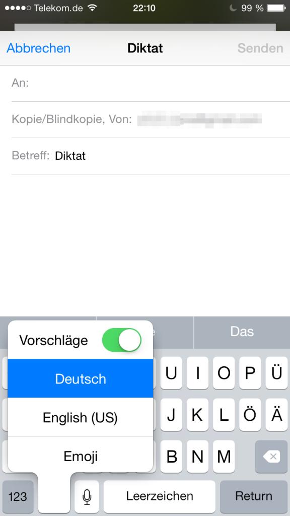 Tastaturauswahl unter iOS