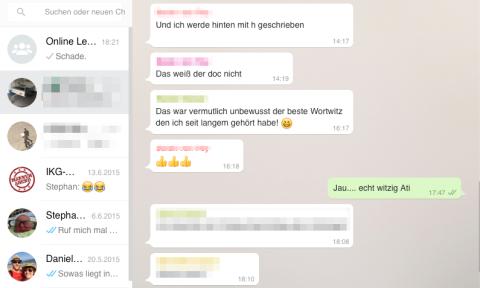 Screenshot aus der App, die einen WhatsApp Chat zeigt.