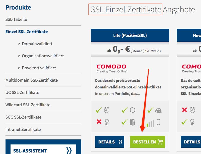 Ein Screenshot eines Webshops