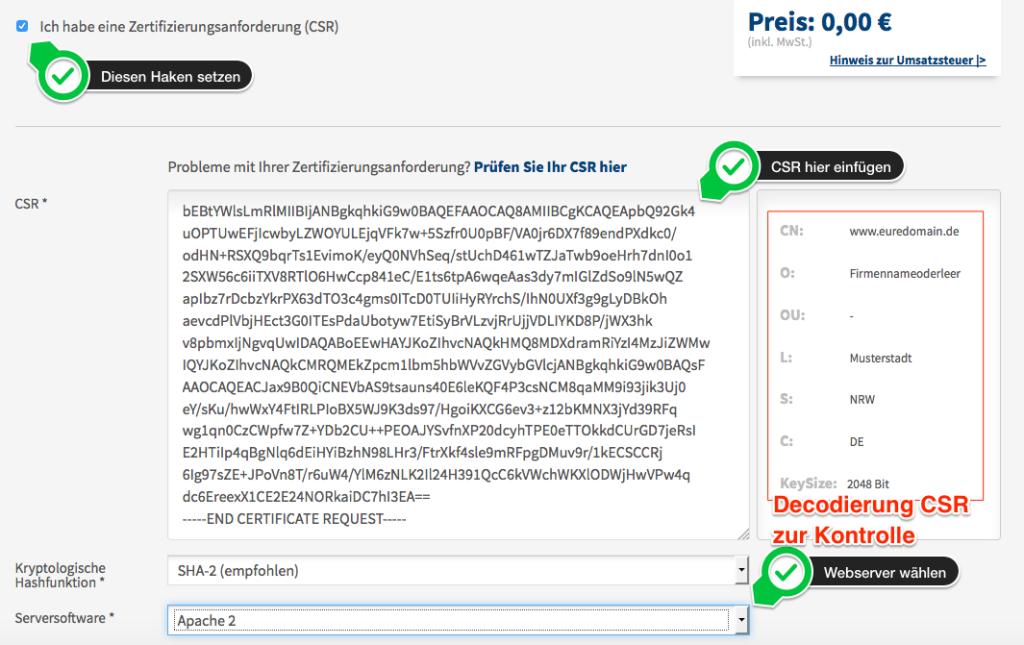 Screenshot mit Anmerkungen zur Eingabe, damit man sehen kann welche Inhalte wohin gehören.