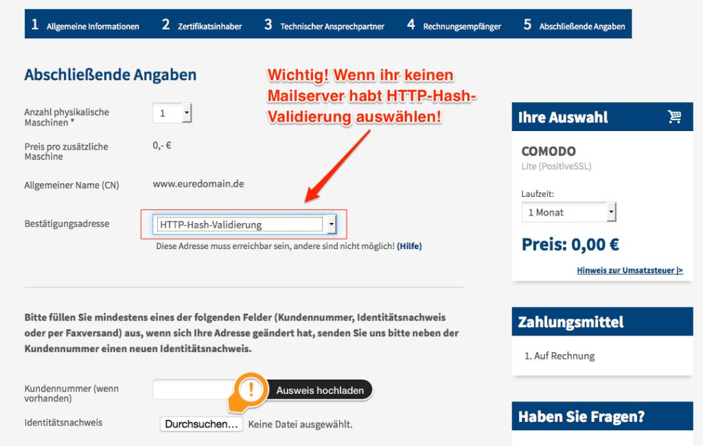 Screenshot zur Domainvalidierung, zeigt die Einstellungen zur Validierung.