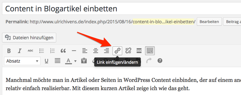 Links einfügen in WordPress